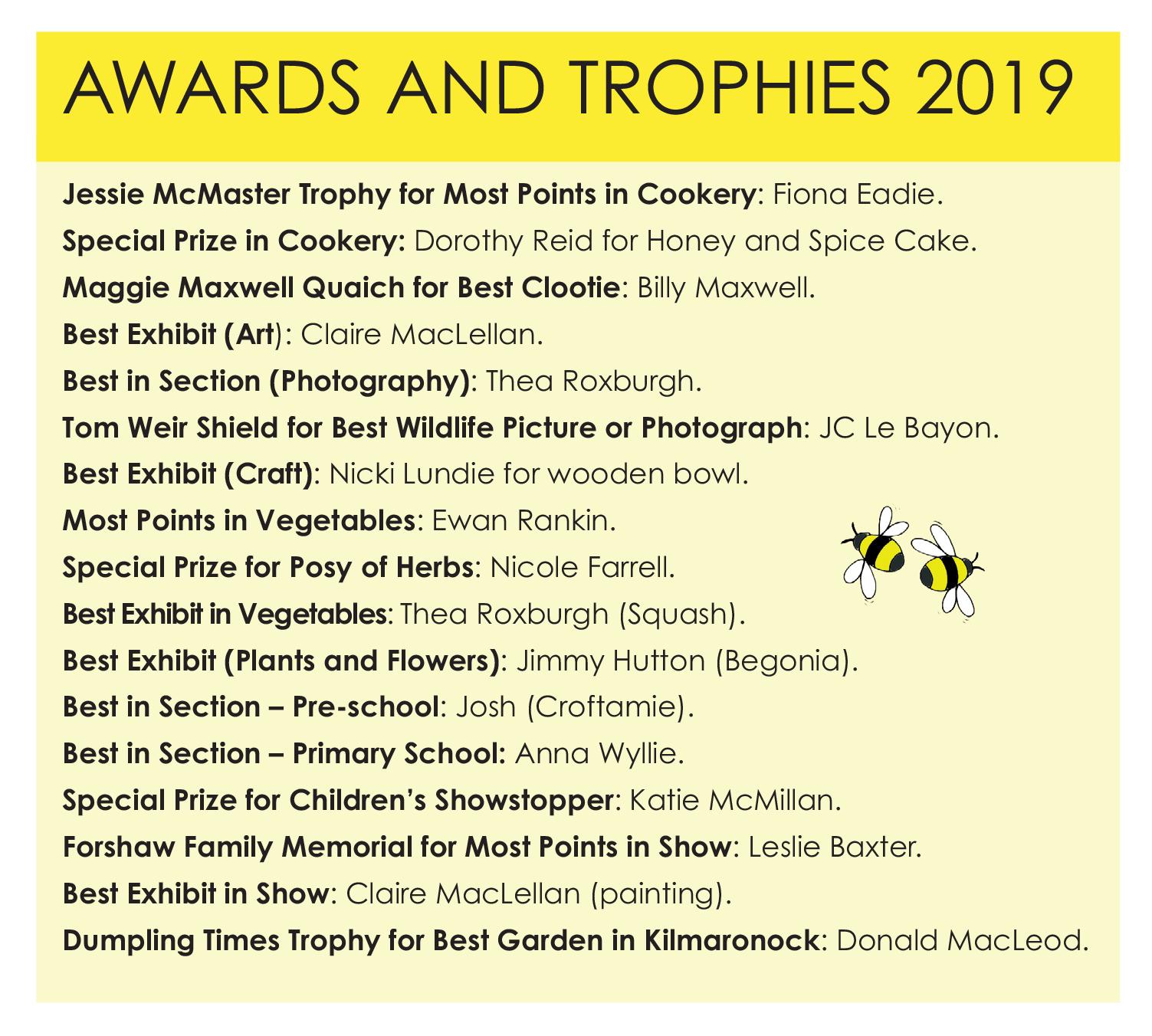 Trophies etc Village Show 2019
